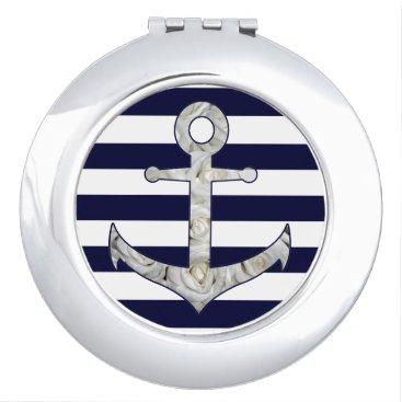 Beach Themed Nautical white rose anchor compact mirror