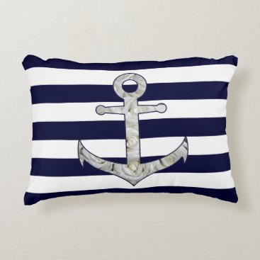 Beach Themed Nautical white rose anchor decorative pillow