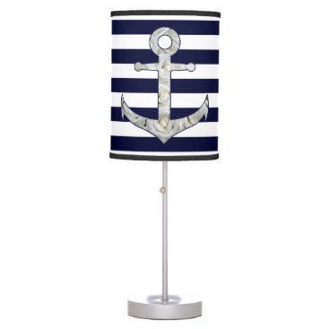 Nautical white rose anchor desk lamp