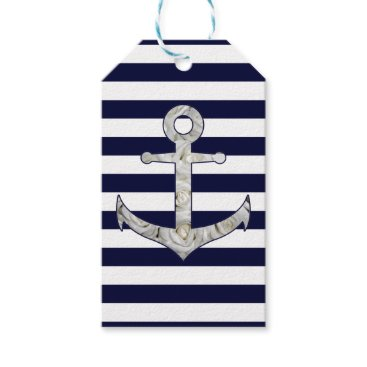 Beach Themed Nautical white rose anchor gift tags