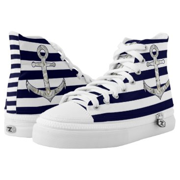 Nautical white rose anchor High-Top sneakers