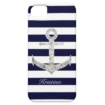 Beach Themed Nautical white rose anchor iPhone SE/5/5s case