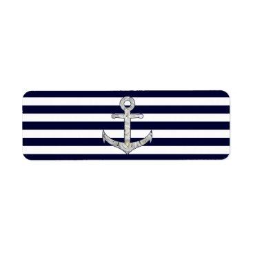 Nautical white rose anchor label