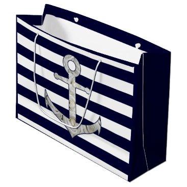 Beach Themed Nautical white rose anchor large gift bag