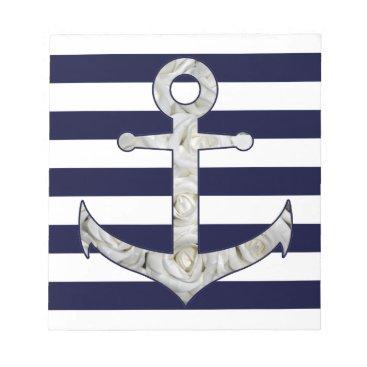 Beach Themed Nautical white rose anchor notepad