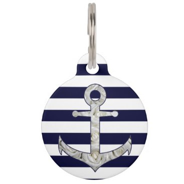 Beach Themed Nautical white rose anchor pet ID tag