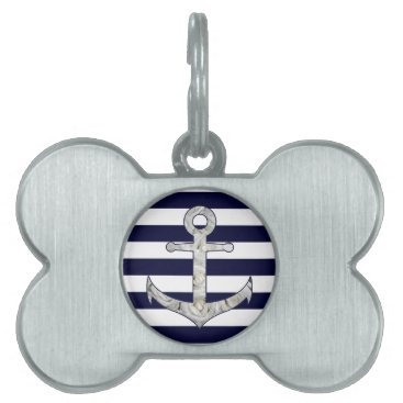 Nautical white rose anchor pet name tag
