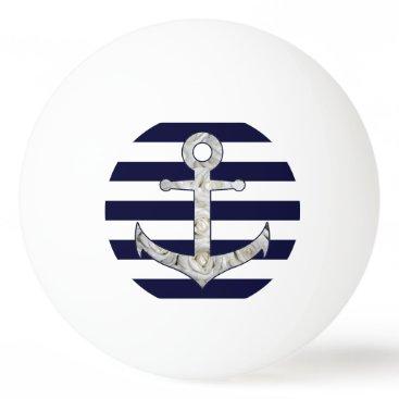 Beach Themed Nautical white rose anchor Ping-Pong ball