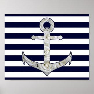 Nautical white rose anchor poster
