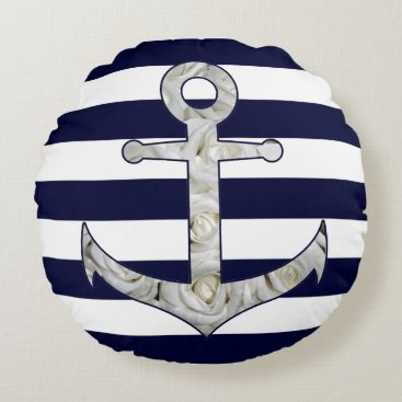 Beach Themed Nautical white rose anchor round pillow