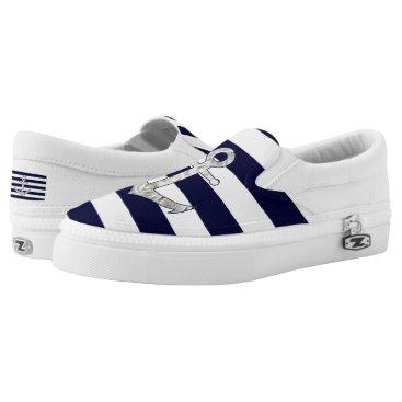 Nautical white rose anchor Slip-On sneakers