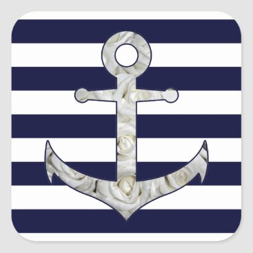 Beach Themed Nautical white rose anchor square sticker