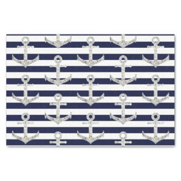 Beach Themed Nautical white rose anchor tissue paper