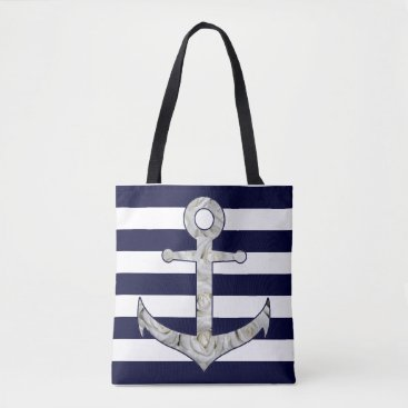 Beach Themed Nautical white rose anchor tote bag