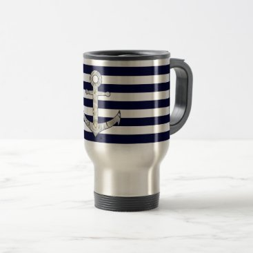 Nautical white rose anchor travel mug