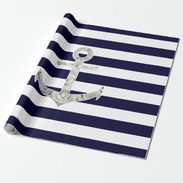 Nautical white rose anchor wrapping paper