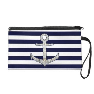 Beach Themed Nautical white rose anchor wristlet purse