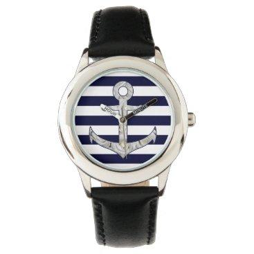 Beach Themed Nautical white rose anchor wristwatch