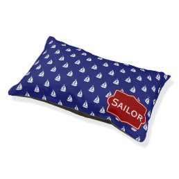 Nautical White Sailboats on Classic Blue Pet Bed