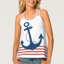 Nautical White with Red Stripes and Blue Anchor Tank Top