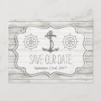 Nautical Whitewashed Wood Beach Wedding Collection Announcement Postcard