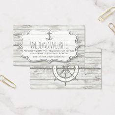 Nautical Whitewashed Wood Beach Wedding Collection Business Card at Zazzle