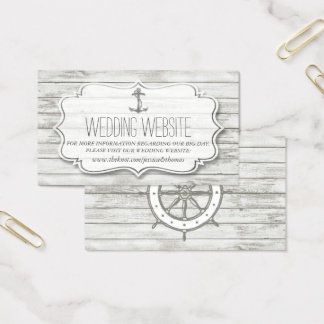 Nautical Whitewashed Wood Beach Wedding Collection Business Card