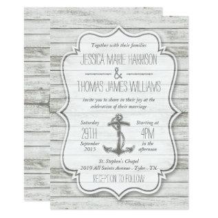 Nautical Whitewashed Wood Beach Wedding Collection Card at Zazzle