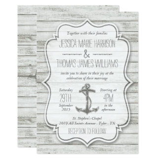 Nautical Whitewashed Wood Beach Wedding Collection Card