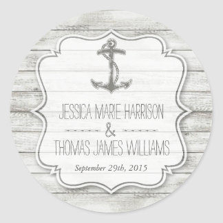 Nautical Whitewashed Wood Beach Wedding Collection Classic Round Sticker