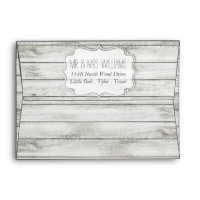 Nautical Whitewashed Wood Beach Wedding Collection Envelope