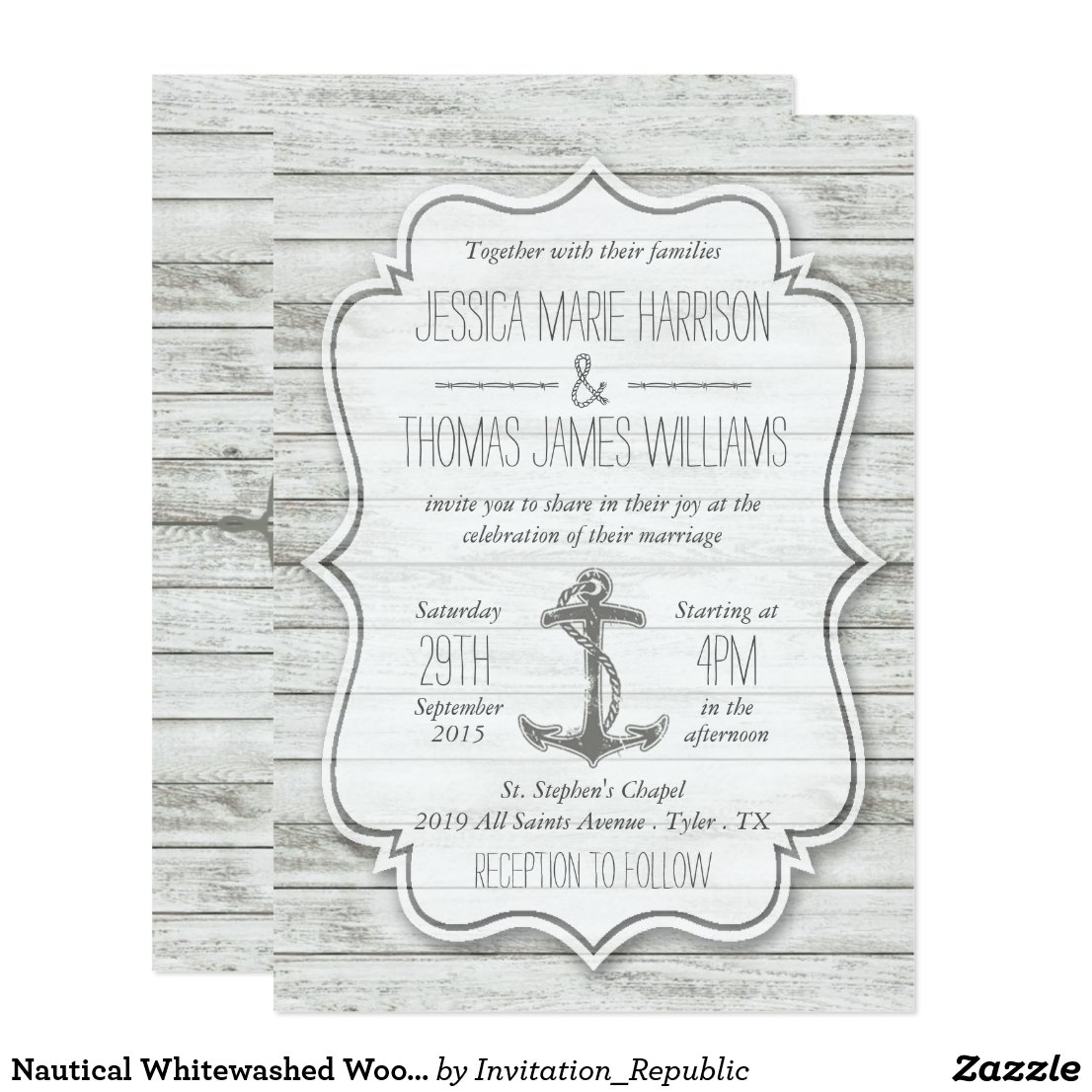 Nautical Whitewashed Wood Beach Wedding Collection Invitation