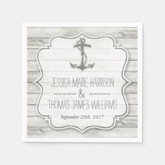 Nautical Whitewashed Wood Beach Wedding Collection Napkin
