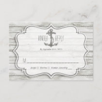 Nautical Whitewashed Wood Beach Wedding Collection RSVP Card