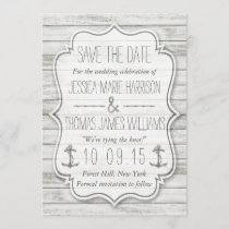 Nautical Whitewashed Wood Beach Wedding Collection Save The Date