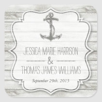 Nautical Whitewashed Wood Beach Wedding Collection Square Sticker
