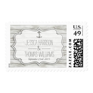 Nautical Whitewashed Wood Beach Wedding Collection Stamp
