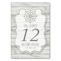 Nautical Whitewashed Wood Beach Wedding Collection Table Number