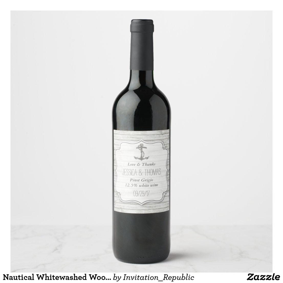 Nautical Whitewashed Wood Beach Wedding Collection Wine Label