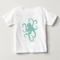 Nautical Wild Animal Octopus Coastal Illustration Baby T-Shirt