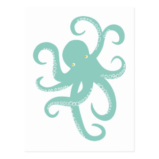Nautical Wild Animal Octopus Coastal Illustration Postcard
