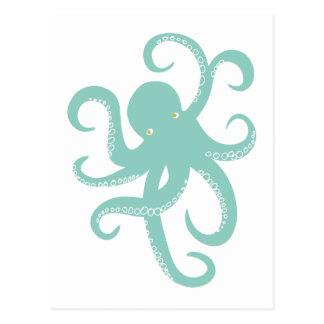 Nautical Wild Animal Octopus Coastal Illustration Postcard