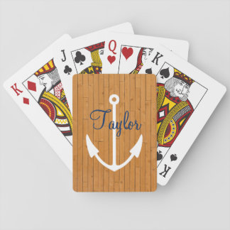 Nautical Wood Plank With Custom Name And Anchor Playing Cards