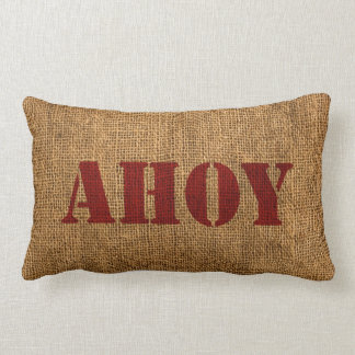 Nautical Word Ahoy Red Throw Pillow