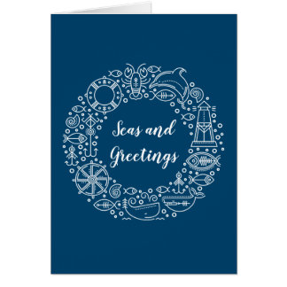 Nautical Wreath Coastal Christmas Holiday Card