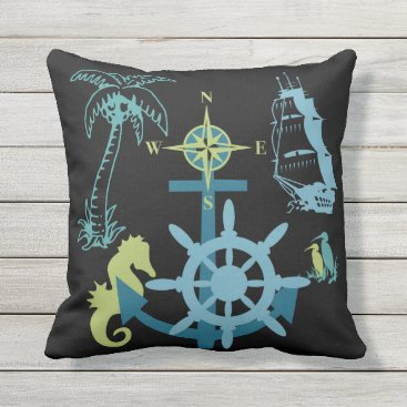 Beach Themed Nautical Yacht Boating Palm Tree Sea Horse Anchor Throw Pillow