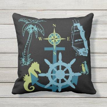 Beach Themed Nautical Yacht Boating Palm Tree Sea Horse Anchor Throw Pillow