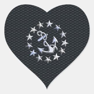 Nautical Yacht Flag Chrome Symbol on Grille Decor Heart Sticker