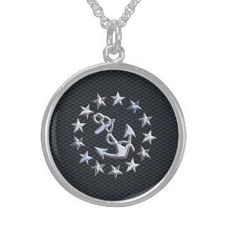 Nautical Yacht Flag Chrome Symbol on Grille Decor Sterling Silver Necklace