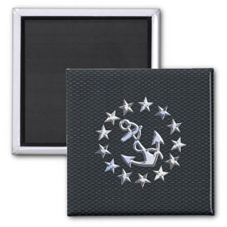 Nautical Yacht Flag Silver Ensign on Grille Print 2 Inch Square Magnet